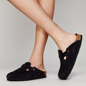 Birkenstock Black Suede Boston Clogs